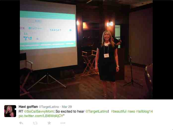 Nicole Connerley Hughes tweeted right before Havi Goffan's SEO presentation