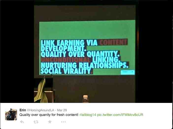 The importance of quality content for Link Earning | Havi Goffan SEO presentation at LALLBLOG14