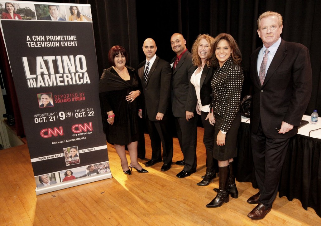 Photo ID from Left to Right: Millie Irizarry, CEO of the Latin America Association, Alex Garcia, NASCAR driver, Jerry Gonzalez, executive director of the Georgia Association of Latino Elected Officials, Claudia Goffan, CEO of Target Latino, Soledad O'Brien ,CNN anchor and special correspondent and Mark Nelson, vice president and senior executive producer of CNN Productions