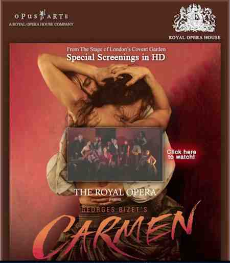 Email Marketing Campaign The royal opera Carmen with video email technology