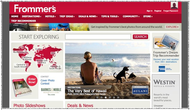 Frommer's is very aware of the way people shop for travel by interests and locations. But it does not translate on its social media strategy. | Frommers content segmentation