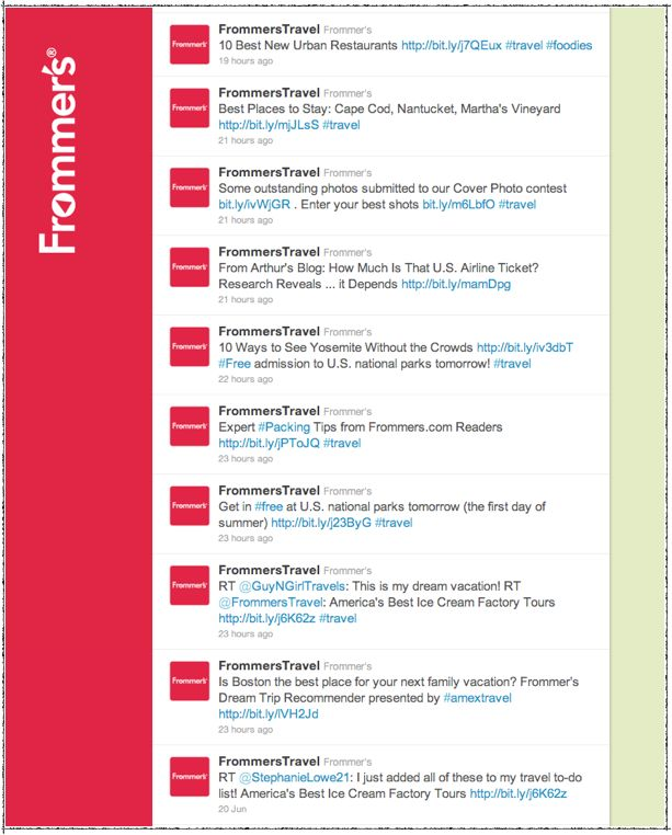Frommer's Twitter activity is not segmented by country. They mostly tweet for the U.S. | Social Media Segmentation