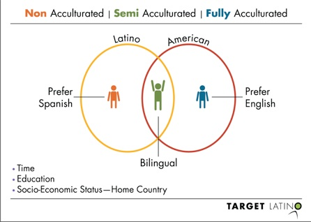 Acculturation is the process of incorporating or acquiring of a new culture without foregoing another one.  | Depiction of the acculturation process for the hispanic market by Target Latino